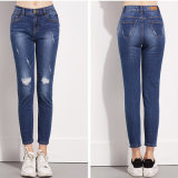 Button Straight Leg New Fashion Sexy Women Jeans Trousers