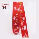 Custom Cheap Printed Grosgrain Ribbon Printed Snowman and Merry Christmas Grosgrain Ribbon