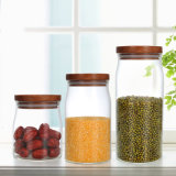 Kitchen Glass Food Storage Jar Bottle with Wood Lid