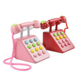 3D Kids Wooden Strawberry Pink Pretend Play Telephone Children Educational Toy