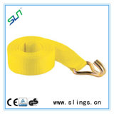 Yellow Winch Straps with Double J Hook on One Hand