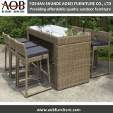 Rattan Outdoor Rectangular Kd Construction Bar Table Stacking Chair Furniture Set