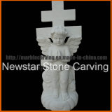Angel Tombstone for Graveyard with Cross Carving mm1733
