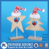 Wooden Star and Mini-Tree with Red Hat and Jingle Bell for Christmas Decor