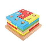 Wooden Shape Color Recognition Geometric Sorting Board Stack Chunky Puzzle Children Toys