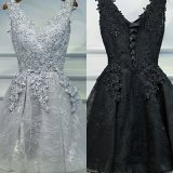 Wholesale in Stock Lace Appliqued V-Neck Short Cocktail Dress Cheap