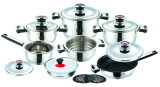 17PCS Stainless Steel Cookware Set with Black Bakelite