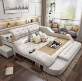 Home Furniture Bedroom Multifunction Storage Massage Music Design Leather Sofa King Bed Tatami Factory Wholesale Price