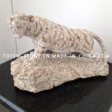 Hand Made Yellow Granite Animal Carving Sculpture with Tiger