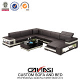 European Wholesale Black Leather Modern Sofa for Sale