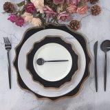 New Porcelain Plate Set Wedding Rental Tableware Black & White Dinnerware Cheap Ceramic Plate Set