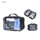 Custom High Quality PVC Beauty Bag Waterproof Double Side Clear Vinyl Nylon Makeup Cosmetic Bag