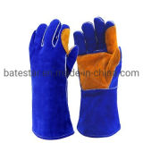 Heat Resistant Blue Cow Leather Reinforced Yellow Palm Welding Gloves Split Leather Welder Protective Gloves