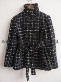Ladies Jacquard Black White Plaid Coat with Belt