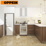 Oppein Modular Polymer Kitchen Cabinet with Flat Panel and Color Combinations Finish