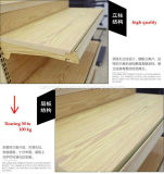 Hot Ce Standard Supermarket Gondola Metal Furniture Shelf with Wood Surface
