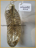 Feather Shaped Glass Christmas Hanging Ornament