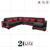 Modern Promotional Home Living Room Furniture Italian Leather Sectional Lounge Sofa with Speaker and LED Lights