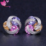Fashion Earring Jewelry Stud Earring Charming Colorful Zircon Rhinestone Crystal Earring
