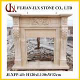 Polished Classic European Style Marble Stone Fireplace Mantel