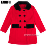Customised Manufacturing Top Quality Children/Baby Clothing Girl Red Wool Coat Winter Clothes Apparel