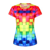 Healong Cheap Fitness Print Women Wholesale Striped T-Shirt