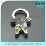 Custom Offset Printing Metal Small People Shape Keychain with Spring