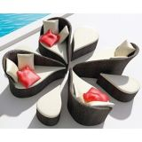 5 Pieces Deep Rattan Seating Group with Cushion (WS-06036)