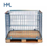 Huameilong Folding Metal Mesh Storage Cage Pallet with Wooden Pallet