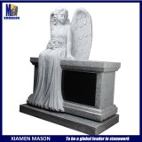 Modern Design Gray Granite Engraving Tombstone with Weeping Angel Wings Sculpture