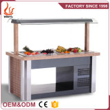 Junjian Restaurant Equipment Marble Island Type Fan Cooling Refrigerator Salad Bar Display