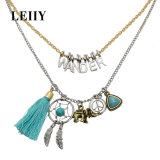 Fashion Jewelry Dream Catcher Synthetic Stone Tassel Choker Necklaces Set