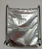 Drawstring Polyester Bag with Shine Golden Silver Film