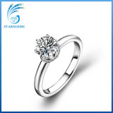 Popular Simple Style Solitare Moissanite Silver Ring for Engagement