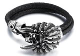 Fashion Classic Men Bracelet Black Leather Creative Stainless Steel Spider Punk Jewelry for Men