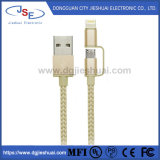 Nylon Braided Sync and Charging 2 In1 Lightning and Micro USB Cable for iPhone and Android Phone
