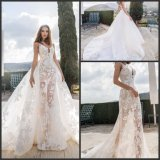 Fashion Sheer Bridal Gown Dismountable Train 2 in 1 Lace Wedding Dress 2019 H1618