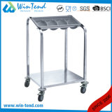 Hot Sale Square Tube Cutlery Holder Trolley Cart for Easy Transport with Bottom Shelf