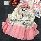 New Design Multicolor Space Dye Cut Fashion Lady Silk Scarf