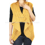 Ladies Knitted Sleeveless Cardigan Sweater for Casual (12AW-401)