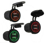 2 USB Car Charger Socket Power Outlet 1A & 2.1A for iPad iPhone Car Boat Marine Mobile Blue LED Light