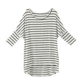 Fashion 3/4sleeve White Striped Lady T-Shirt