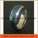Shineme Jewelry Fashion Between Blue and Silver Titanium Ring (TR1918)