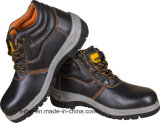 Genuine Leather Safety Shoe with Steel Toe and Plate, PU or Rubber Sole