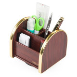 Multi Functional Office Stationery Organizer Wooden Color with Removable Base