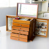 Deluxe Bamboo Jewel Case Jewelry Storage Box with Mirror