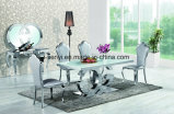 Modern Dining Room Furniture Tempered Glass Top Stainless Steel Dining Table