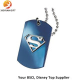 Men's Blue Plated Necklace Supermen Sign Dog Tag Pendant