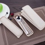 4 Pieces Flatware Stainless Steel Flatware Set Chopstick Spoon Fork Knife Travel Camping Outdoor Office Portable with Case and Net Bag