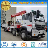 Sinotruk 8X4 Heavy Duty Truck Mounted with 14 Tons Loading Crane Flat Transport Truck